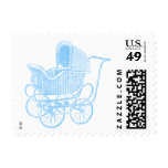 Vintage Blue Baby Carriage Baby Shower Stamp