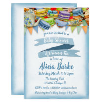 Vintage Blue Baby Shower Tea Party Invitation