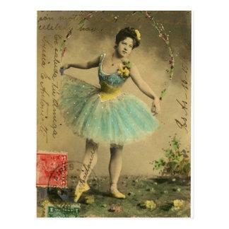 Vintage Blue Ballerina Fairy Scrapbook Postcard
