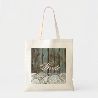 vintage blue barn wood lace country bride tote bag