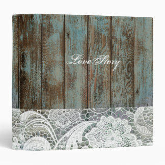vintage blue barn wood lace country wedding 3 ring binder