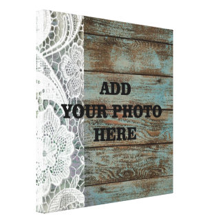 vintage blue barn wood lace country wedding canvas print