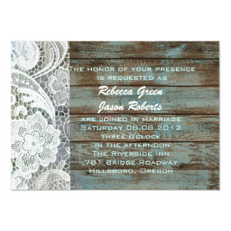 vintage blue barn wood lace country wedding card