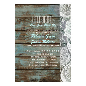 vintage blue barn wood lace country wedding custom announcement