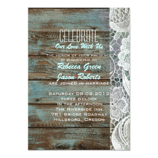 "vintage blue barn wood lace country wedding 5"" x 7"" invitation card"