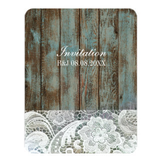 vintage blue barn wood lace country wedding invite