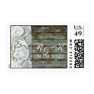 vintage blue barn wood lace country wedding postage stamps