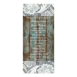 vintage blue barn wood lace country wedding rack card