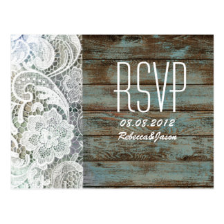 vintage blue barn wood lace country wedding RSVP Postcard
