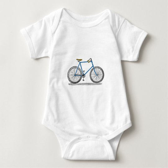 Vintage Blue Bicycle Bike Baby Bodysuit