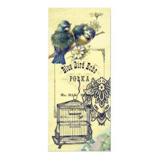 Vintage Blue Bird Birdcage Collage Bookmark 4x9.25 Paper Invitation Card