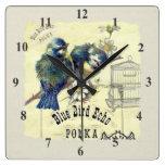 Vintage Blue Bird Birdcage Collage Square Wall Clock