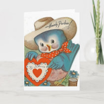 Vintage Blue Bird Cowboy Valentine's Day Card