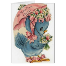 Vintage Blue Bird Easter Card