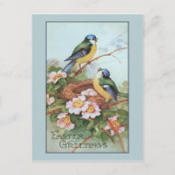 Vintage Blue Bird Easter Holiday Postcard