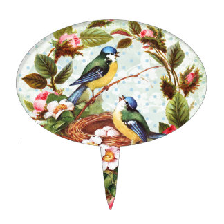 Vintage Blue Birds and Flowers Cake Topper