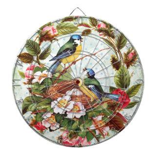 Vintage Blue Birds and Flowers Dart Board