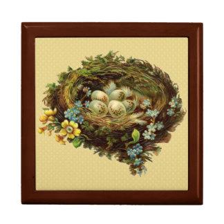 Vintage Blue Birds Nest Jewelry Box