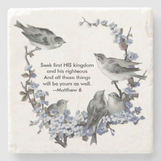 Vintage Blue Birds Scripture Stone Coaster