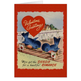 Vintage Blue Birds Seeds of Romance Valentine Card