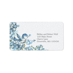 Vintage Blue Birds Winter Season Address Label