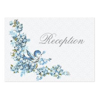 Vintage Blue Birds Winter Wed Reception Enclosure Business Card