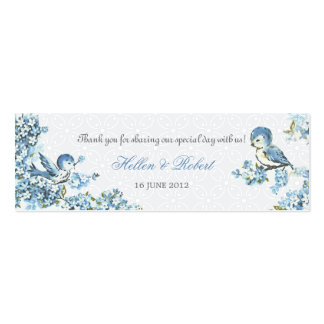 Vintage Blue Birds Winter Wedding Favor Tag Business Card Template