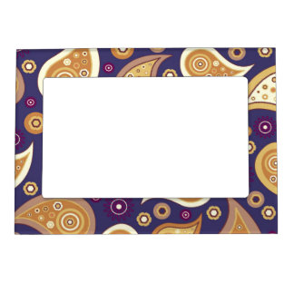 Vintage blue brown paisley floral pattern magnetic picture frame