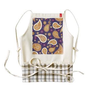 Vintage blue brown paisley floral pattern zazzle HEART apron