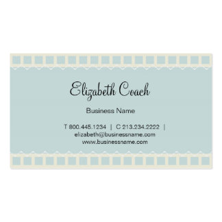 Vintage Blue Business Card with Stitch Patterns