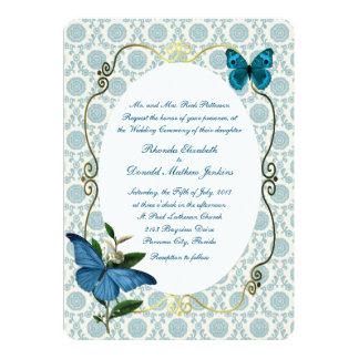 "Vintage Blue Butterflies Wedding Invitation 5"" X 7"" Invitation Card"