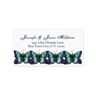 Vintage Blue Butterflies Wedding Label
