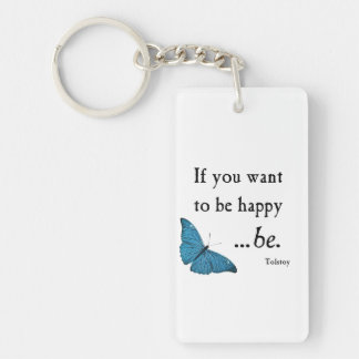 Vintage Blue Butterfly and Tolstoy Happiness Quote Double-Sided Rectangular Acrylic Keychain
