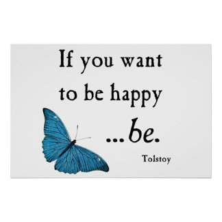Vintage Blue Butterfly and Tolstoy Happiness Quote Poster