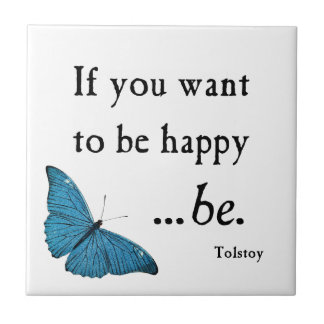 Vintage Blue Butterfly and Tolstoy Happiness Quote Tile