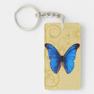 Vintage blue Butterfly art Keychain
