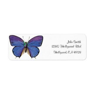 Vintage Blue Butterfly Business Address Label
