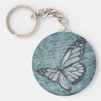 Vintage Blue Butterfly Calligraphy Design Keychain