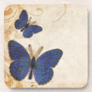 Vintage Blue Butterfly Drink Coaster