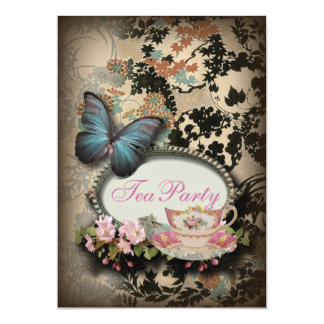 vintage Blue Butterfly floral  bridal tea party 5x7 Paper Invitation Card