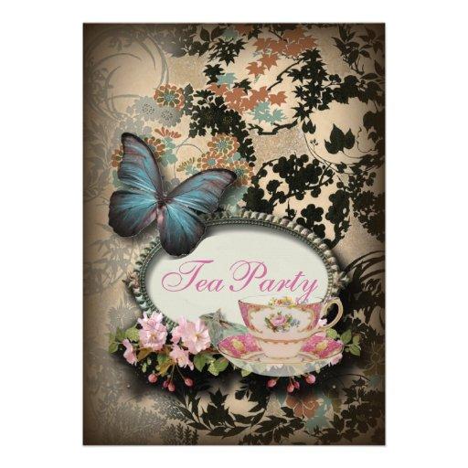vintage Blue Butterfly floral  bridal tea party Invitation