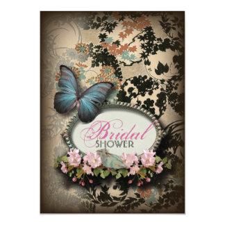 vintage Blue Butterfly floral Damask bridal shower Card