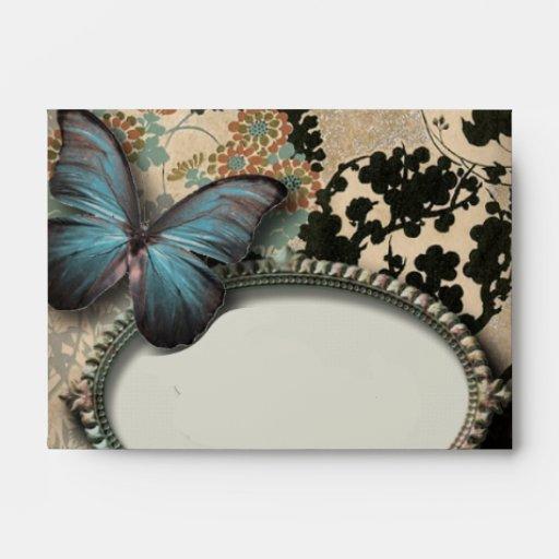 vintage Blue Butterfly floral Damask bridal shower Envelope
