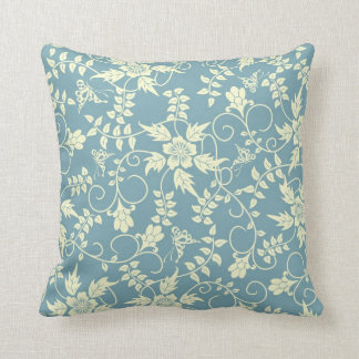 Vintage blue butterfly floral throw pillow
