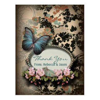 Vintage Blue Butterfly floral wedding thank you Postcard