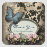 Vintage Blue Butterfly floral wedding thank you Square Sticker