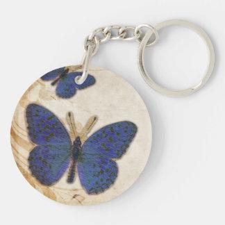 Vintage Blue Butterfly Keychain