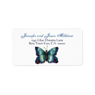 Vintage Blue Butterfly Wedding Label