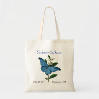 Vintage Blue Butterfly Wedding Tote Bag