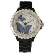 Vintage Blue Butterfly Wristwatch